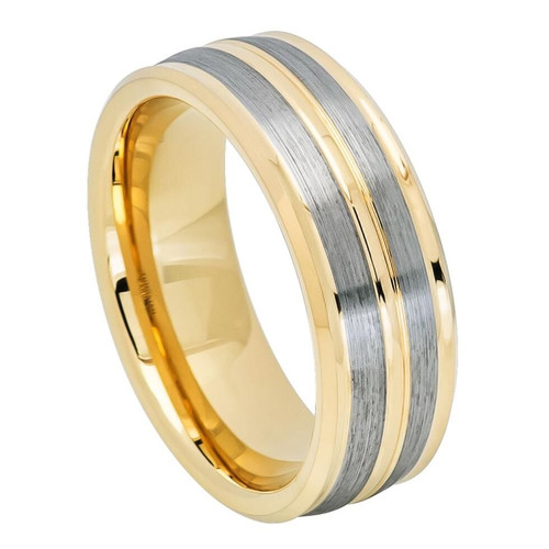 The Eon Yellow Gold Ion Plated Tungsten Carbide Ring with Gun Metal Finish from Vansweden Jewelers