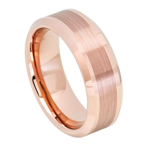 The Kairos Rose Gold Ion Plated Tunsten Carbide Ring with Brushed Center from Vansweden Jewelers