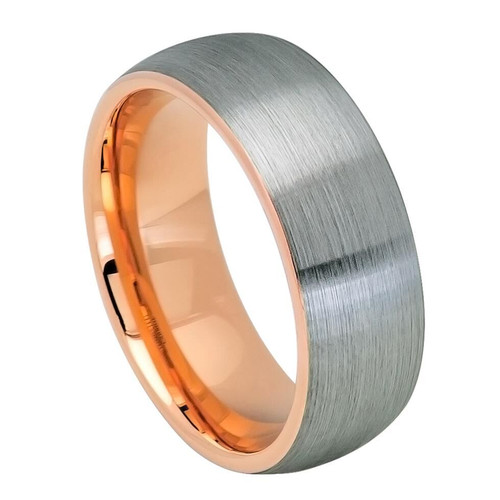 The Wyvern Tungsten Carbide Ring with Domed Rose Gold Ion Plated Inside and Gun Metal Brushed Center from Vansweden Jewelers