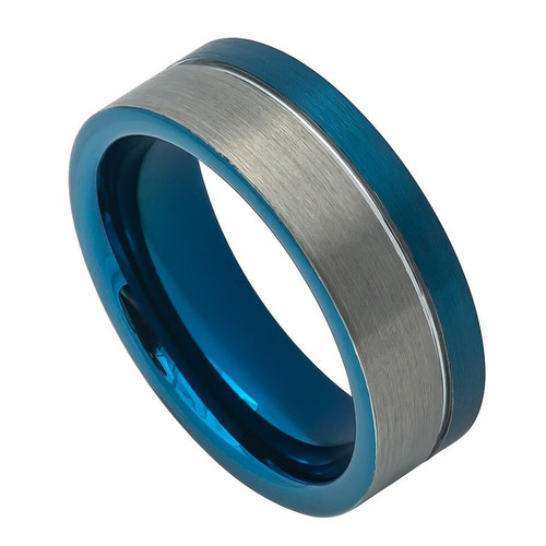 The Aphelion Tungsten Carbide Grooved Pipe Cut Ring with Blue Ion Plating from Vansweden Jewelers