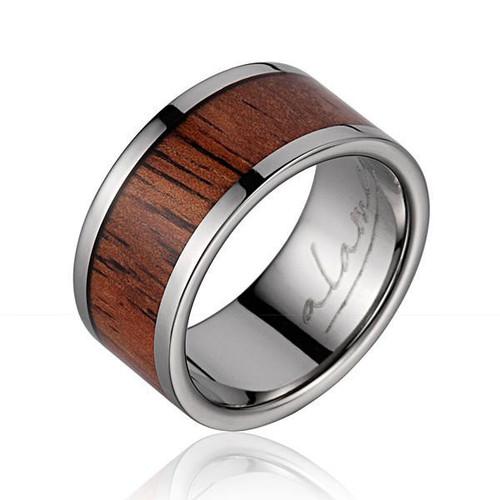 Paragon Genuine Koa Wood Inlaid Titanium Wedding Ring High Polish