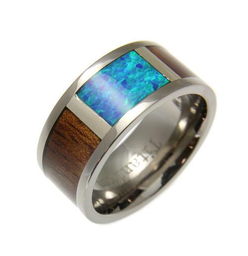 Asymptote Titanium Wedding Band With Genuine Koa Wood & Blue Green Opal Inlay