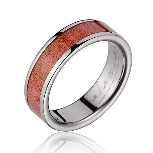 Divergent Genuine Pink Ivory Wood Inlaid Titanium Wedding Ring