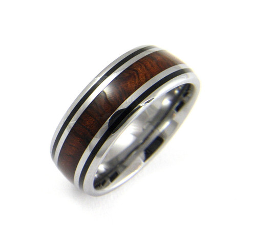 Equilibrium Men's Tungsten Ring With Genuine Koa Wood Inlay & Black Enamel Border