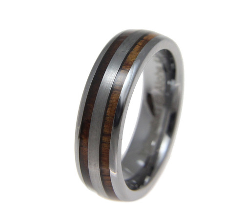 Soliloquy Domed Tungsten Wedding Band with Hawaiian Koa Wood