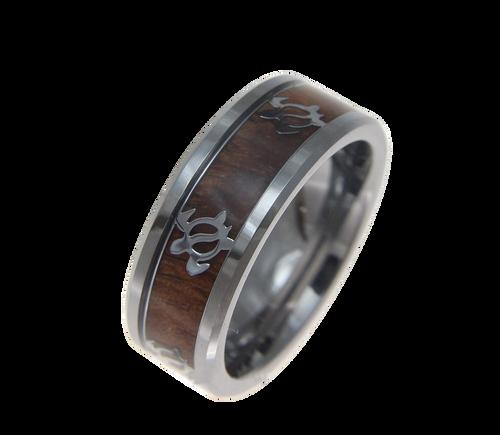 Ambrosial Tungsten Ring with Genuine Koa Wood Inlay & Honu Turtle Design