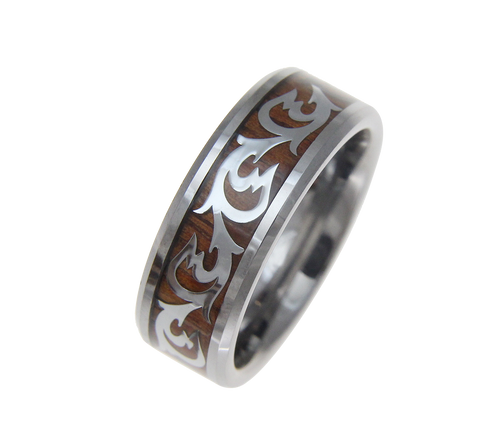 Piqued Genuine Koa Wood Inlaid Tungsten Ring With Shiny Scroll Pattern