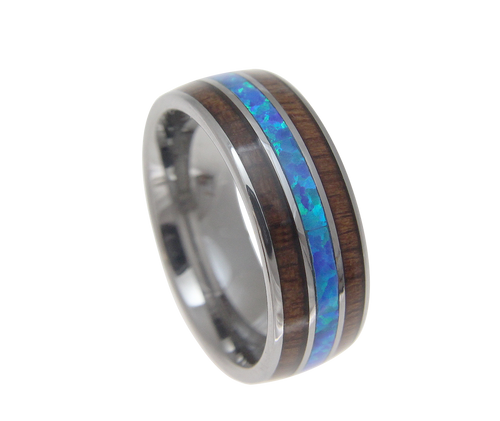 Aesir Tungsten Ring with Blue Opal Middle & Genuine Koa Wood Inlay
