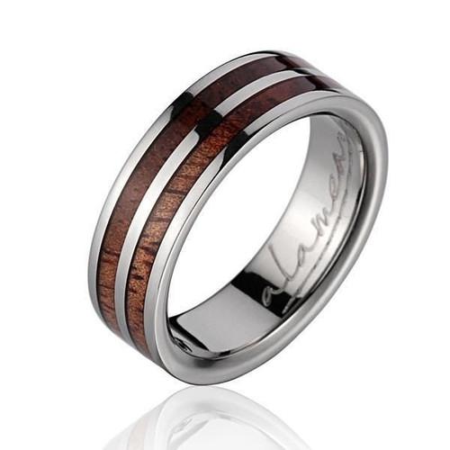 Omicron Genuine Hawaiian Koa Wood Inlaid Titanium Wedding Ring