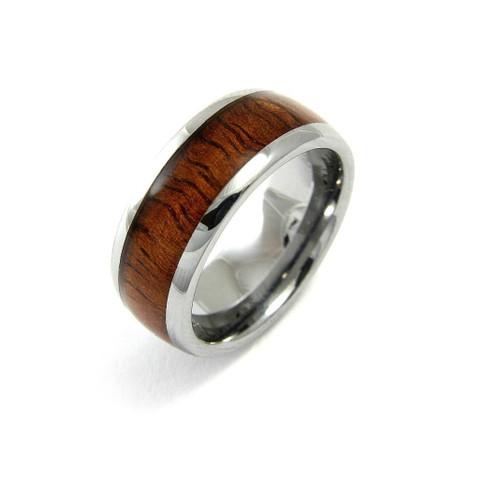 Energize Tungsten Wedding Band With Genuine Hawaiian Koa Wood Inlay