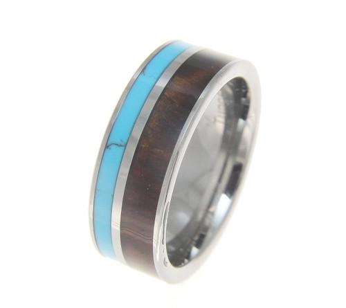 Quota Men's Tungsten Wedding Band with Turquoise & Genuine Koa Wood Inlay