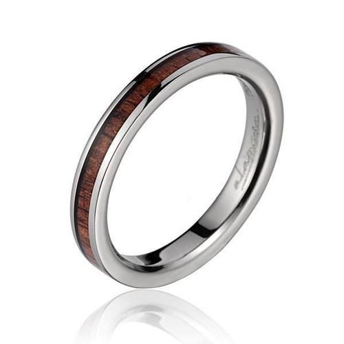 Ardor Women's Titanium Ring with Genuine Koa Wood Inlay