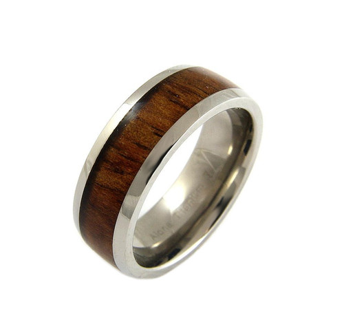 Energy Titanium Ring with Real Hawaiian Koa Wood Inlay