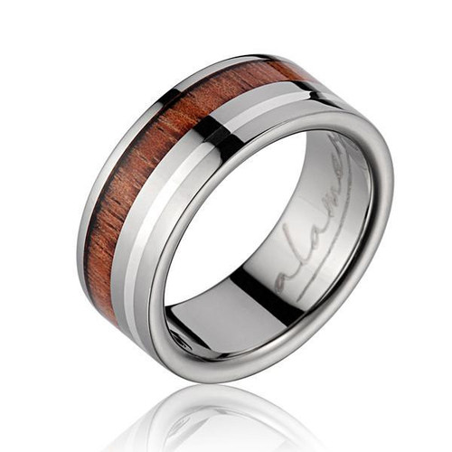 Extol Titanium Ring with Hawaiian Koa Wood Inlay & Sterling Silver Border
