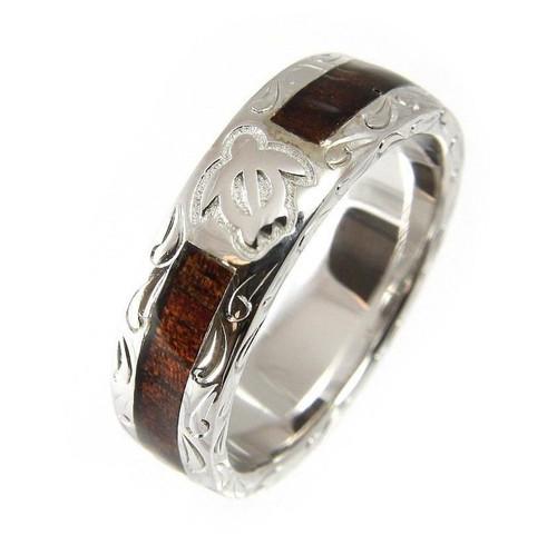 Affinity 925 Silver Wedding Band with Honu Turtle & Hawaiian Koa Wood