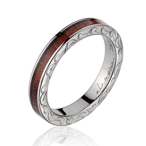 Tenacity 3mm Titanium Ring with Genuine Koa Wood Inlay & Hand Engraved Scroll