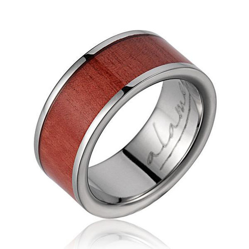 Delight Titanium Wedding Band with Genuine Pink Ivory Wood Inlay
