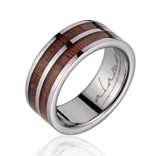 Enthrall 8mm Genuine Hawaiian Koa Wood Inlaid Titanium Wedding Ring