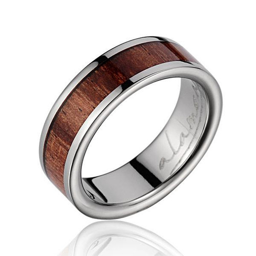 Diligence 6mm Titanium Ring with Genuine Hawaiian Koa Wood Inlay