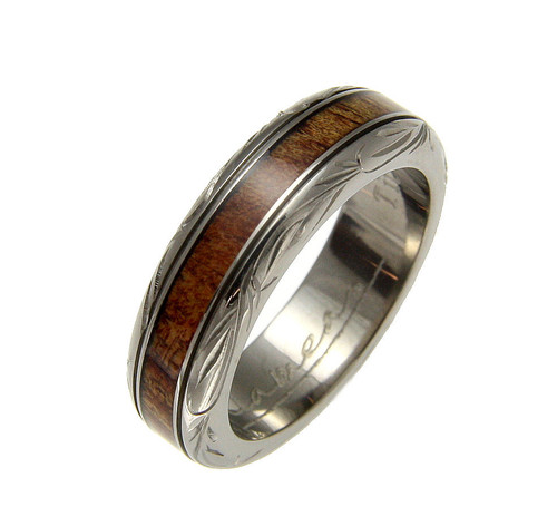 Affirmation 6mm Genuine Hawaiian Koa Wood Inlaid Titanium Ring with Wave Scroll