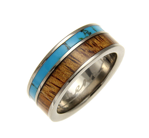 Realize 8mm Men's Turquoise Titanium Ring with Genuine Hawaiian Koa Wood Inlay