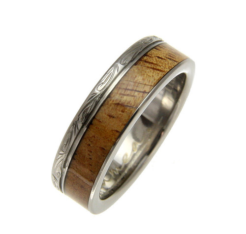 Pursuit 6mm Titanium Wedding Ring with Real Hawaiian Koa Wood Inlay