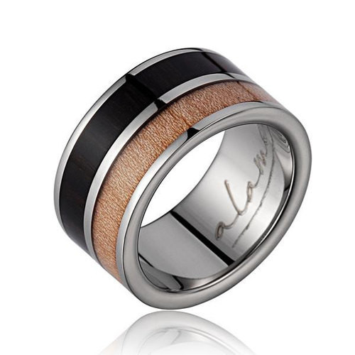 Enrich Titanium Ring with Genuine Macassar Ebony & Maple Wood Inlay