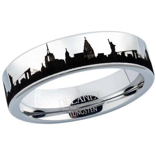 New York City Skyline Women's Tungsten Ring