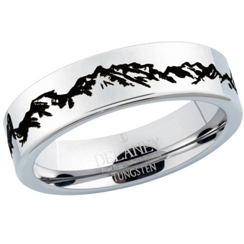 Rugged Mountain Range Women's Tungsten Ring