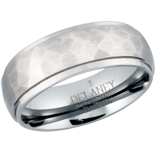 Hammered Domed with Edges Men's Tungsten Wedding Band