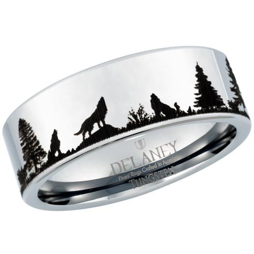 Wolf Howling Landscape Men's Tungsten Ring