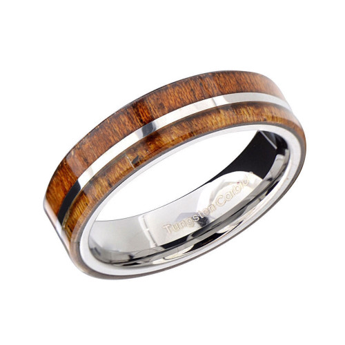 Harmony Tungsten Ring with Offset Wood Inlay
