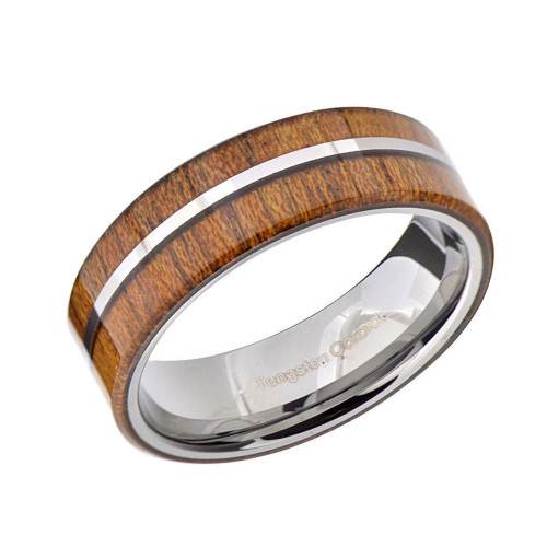 Melody Tungsten Ring with Offset Wood Inlay from Wedding Bands Forever