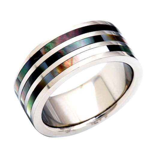 Hallelujah Abalone Shell Inlaid Titanium Wedding Band from Wedding Bands Forever