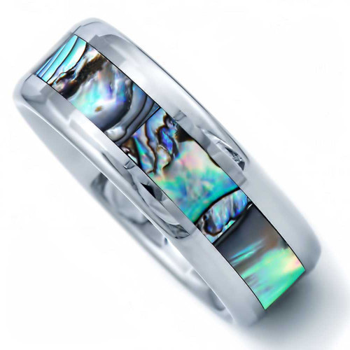Resolute Abalone Shell Inlaid Tungsten Wedding Band from Wedding Bands Forever