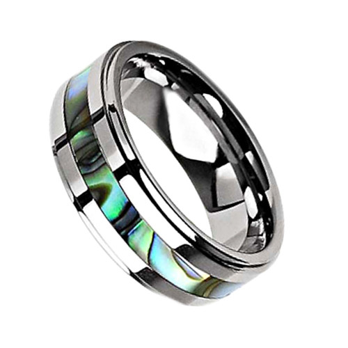Tenacious Abalone Shell Inlaid Titanium Wedding Band from Wedding Bands Forever