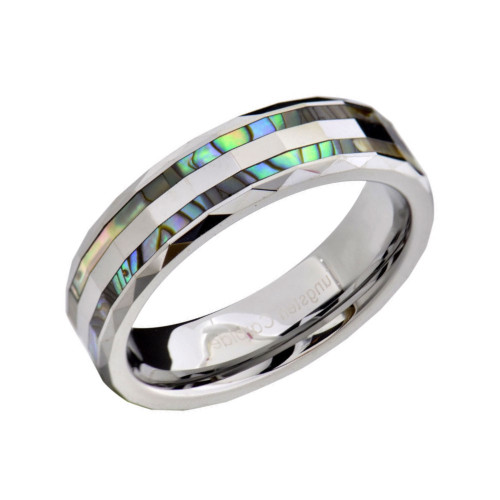 Endurance Abalone Shell Inlaid  Faceted Tungsten Wedding Band from Wedding Bands Forever