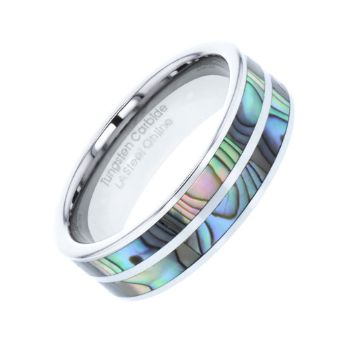 Vigorous Abalone Shell Inlaid Tungsten Wedding Band from Wedding Bands Forever