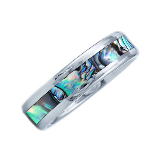 Allegiant Abalone Shell Inlaid Tungsten Wedding Band from Wedding Bands Forever