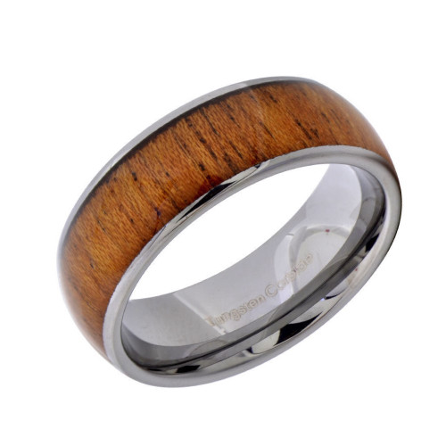 Rapture Wood Inlaid Tungsten Wedding Band from Wedding Bands Forever