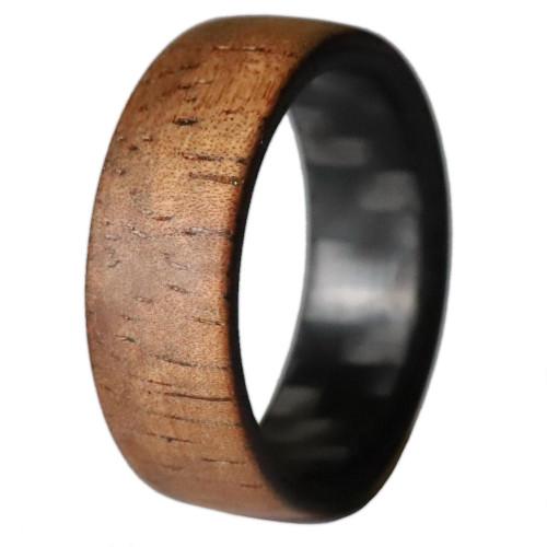 Cadence Koa Wood Men's Wedding Band with Carbon Fiber Interior