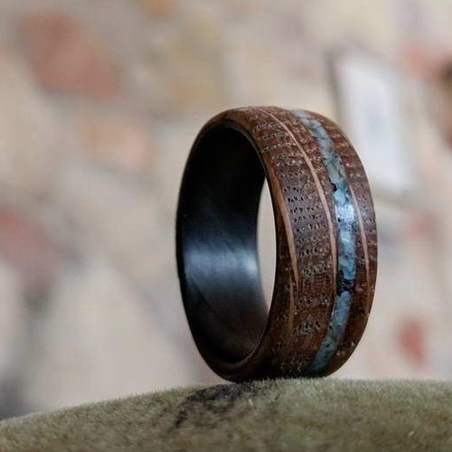 Pitch Wood Inlay Men's Wedding Band with Carbon Fiber Interior