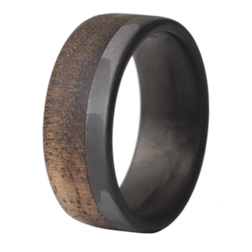 Entwine Carbon Fiber and Walnut Wood Wedding Band