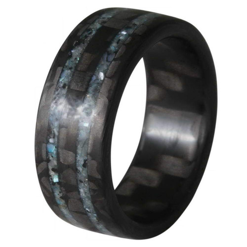 Merge Carbon Fiber Wedding Band with Inlaid Blue Stones