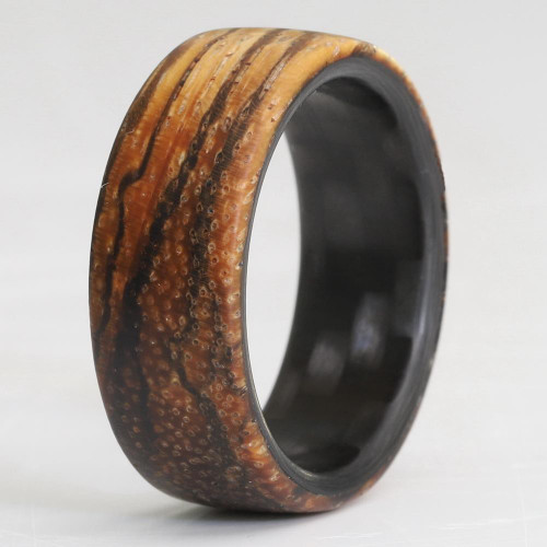 Oscillate Carbon Fiber and Zebra Wood Wedding Band