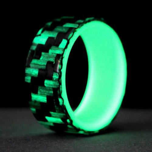 Progress Glow in the Dark Carbon Fiber Wedding Band with Green Interior