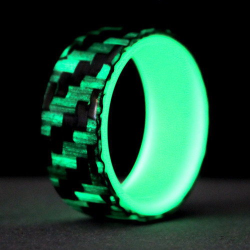 Progress Glow in the Dark Carbon Fiber Wedding Band with Green Interior
