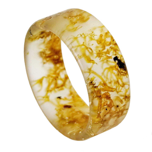 Adore Resin Wedding Band with Real Moss