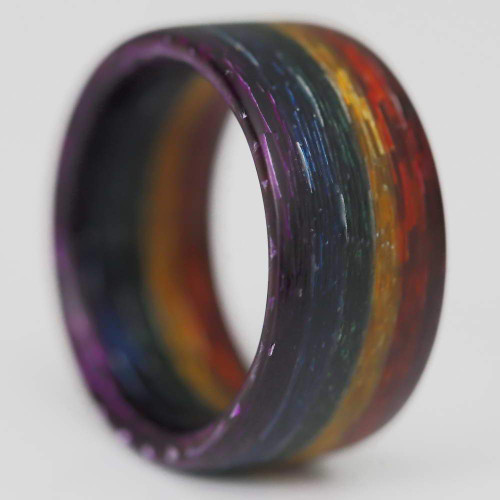 Electrify Multi-Colored Glass Rainbow Wedding Band