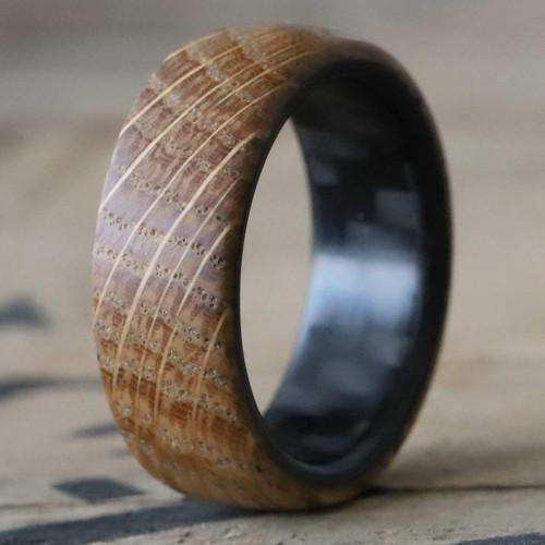 Mesmerize Twill Carbon Fiber and Whiskey Barrel Wood Wedding Band